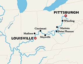 Louisville to Pittsburgh Cruise Route