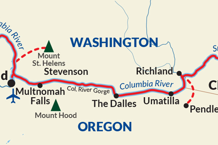 Columbia and Snake Rivers Cruise Itinerary Map