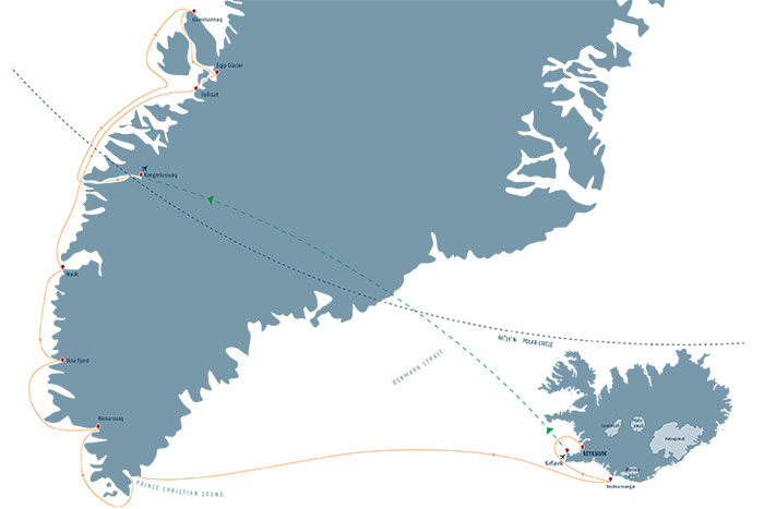 Natural Wonders of Greenland and Iceland Cruise Itinerary Map