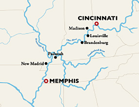 Louisville to Cincinnati Cruise Map