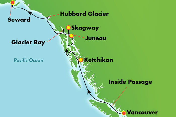 7-Day Alaska with Glacier Bay from Vancouver Cruise Map