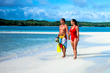 Couple on secluded beach, Fiji