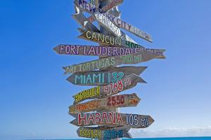 Signpost on the beach, Florida Keys