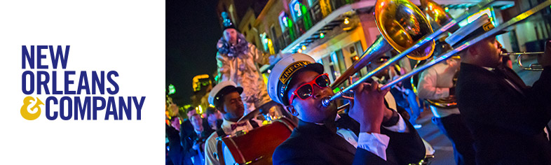 Jazz musician playing during a Second Line Parade
