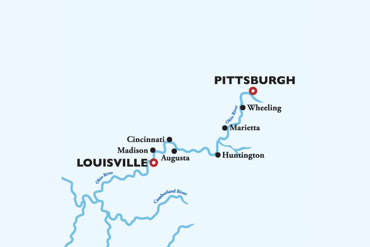 American Countess Pittsburgh to Louisville Itinerary Map
