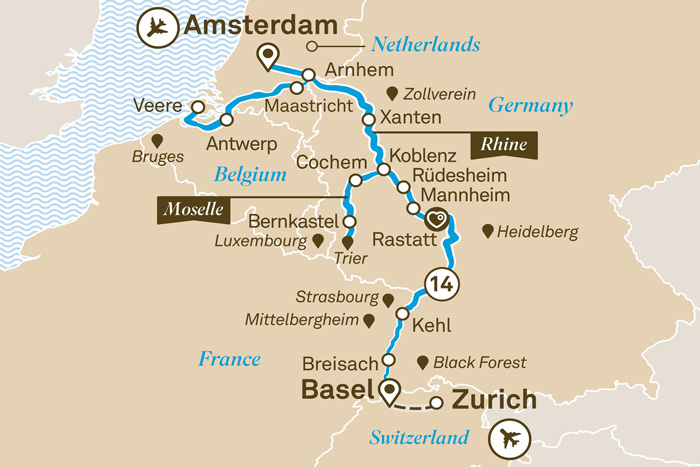 Scenic Romantic Rhine and Moselle Cruise Itinerary Map