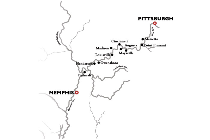American Duchess Memphis to Pittsburgh Cruise Map