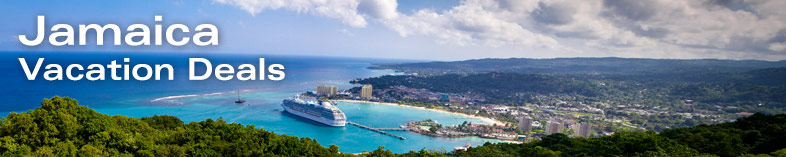 Panoramic view of with ships in the bay, Ocho Rios, Jamaica