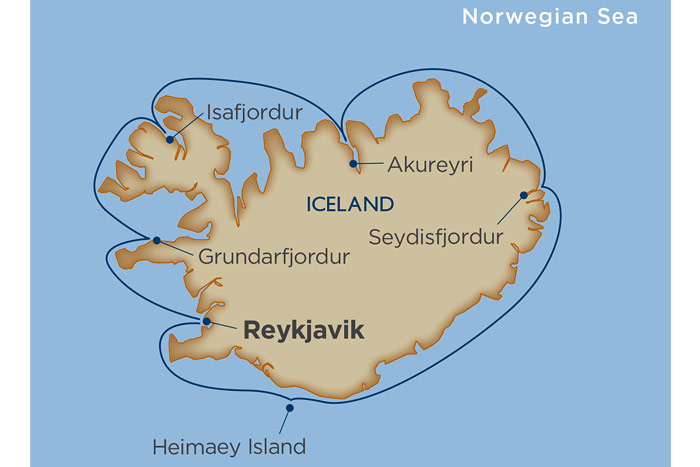 Windstar Around Iceland Cruise Itinerary Map