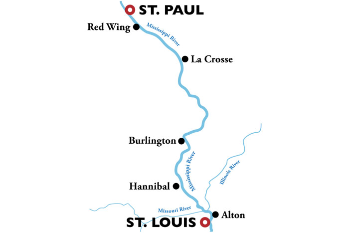 American Duchess St. Louis to St. Paul Itinerary Map