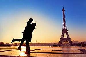 Couple at Eiffel Tower, Paris, France
