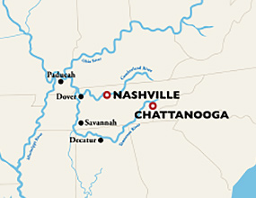 Chattanooga to Nashville Cruise Map
