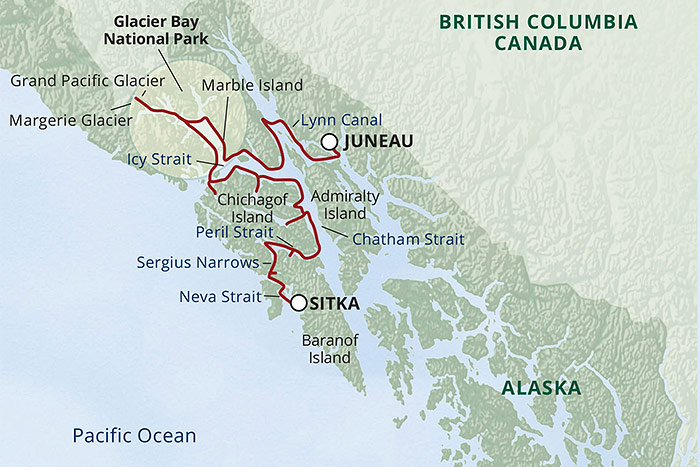 Northern Passage and Glacier Cruise Map