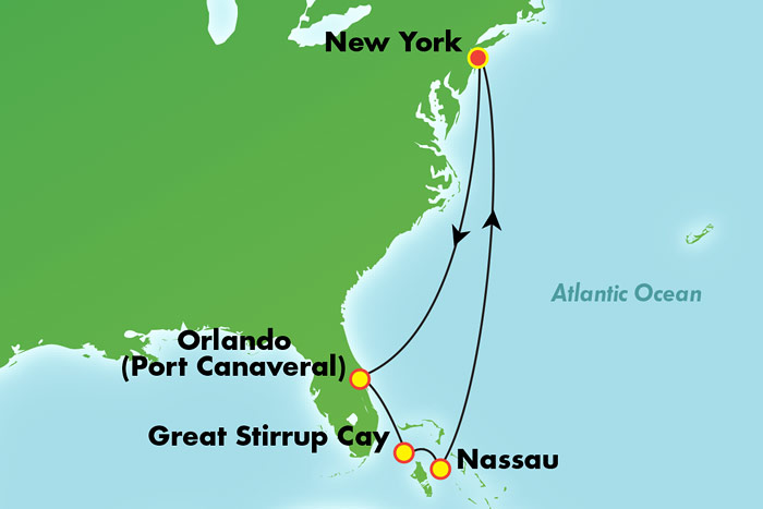 Bahamas and Florida from New York - Cruise Map