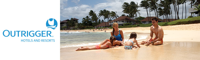 Family on beach, Outrigger Hawaii