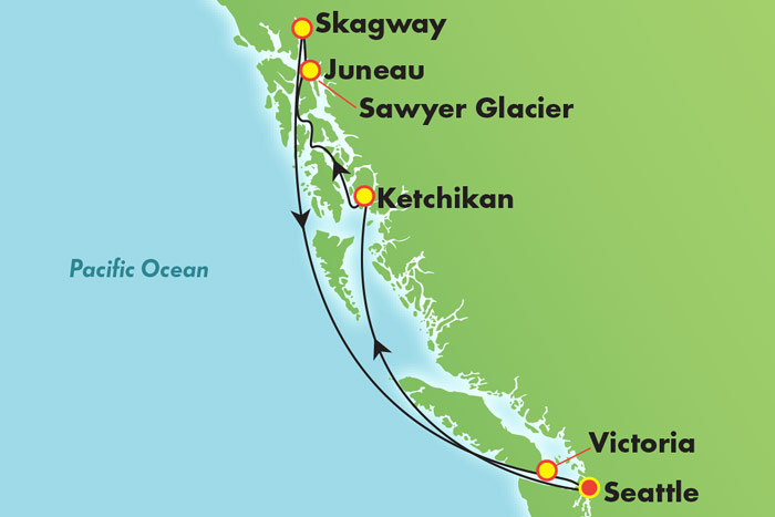 7-Day Awe of Alaska: Cruise Map
