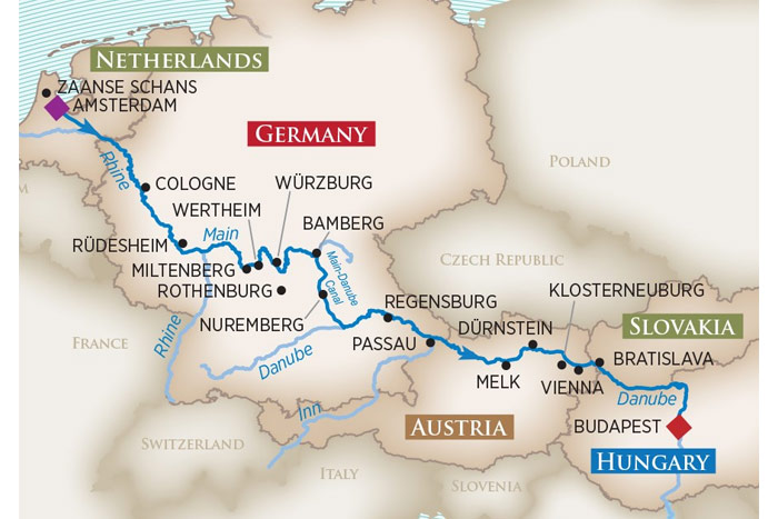 Magnificent Europe Cruise Itinerary Map