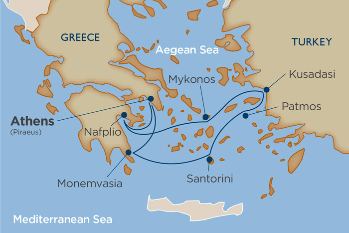 Windstar Treasures of Greek Isles Cruise Itinerary Map