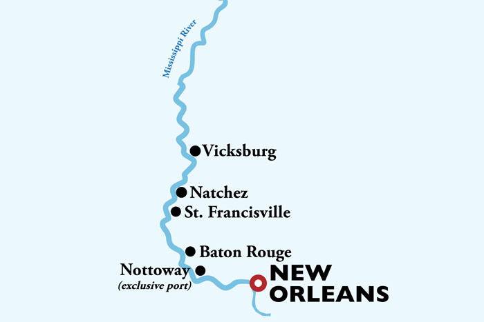 New Orleans to Memphis Cruise Itinerary Map