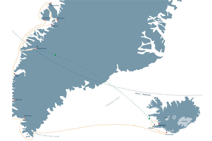 Iceland and Natural Wonders of Greenland Cruise Itinerary Map