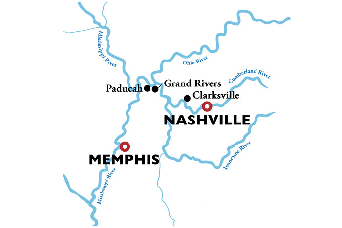 American Duchess Memphis to Nashville Itinerary Map