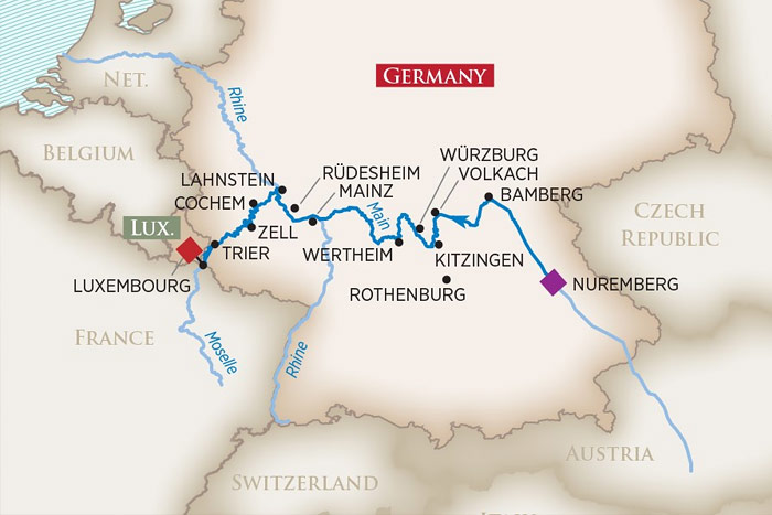 AMAwaterways Europes Rivers and Castles Cruise Itinerary Map