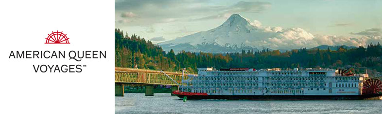 American Empress on Colombia River, Mt Hood in background