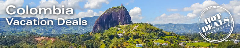 View of homonym stone Guatape Colombia