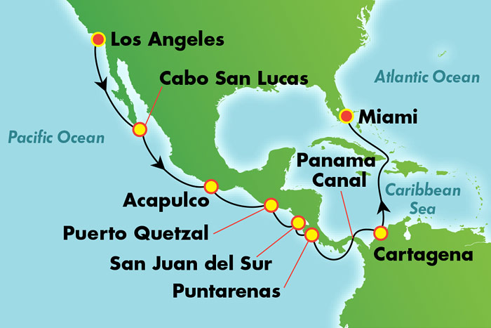 Panama Canal from from LA: Cruise Map