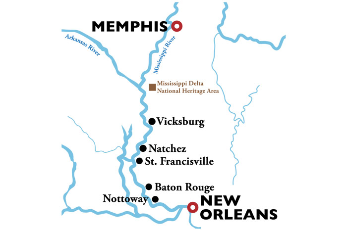 Memphis to New Orleans Cruise Itinerary Map