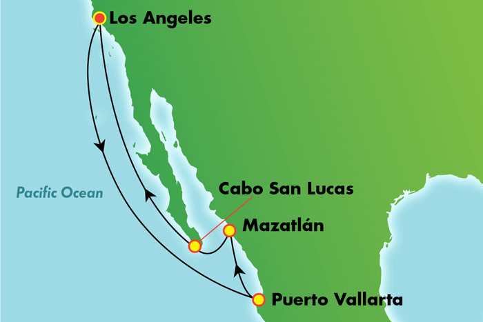 Mexican Riviera from Los Angeles: Cruise Map