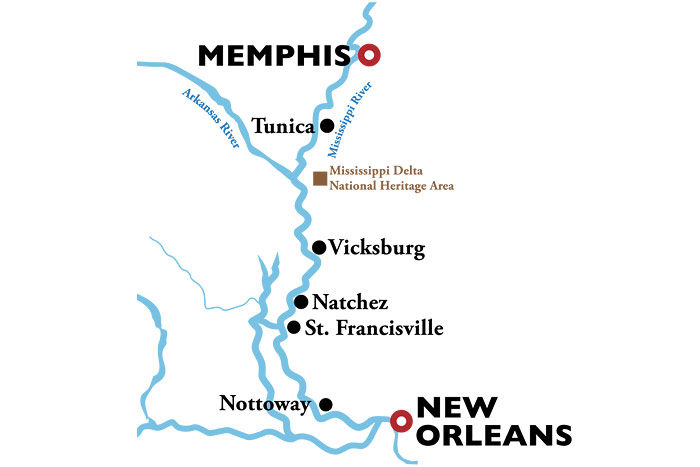 American Duchess New Orleans to Memphis Itinerary Map