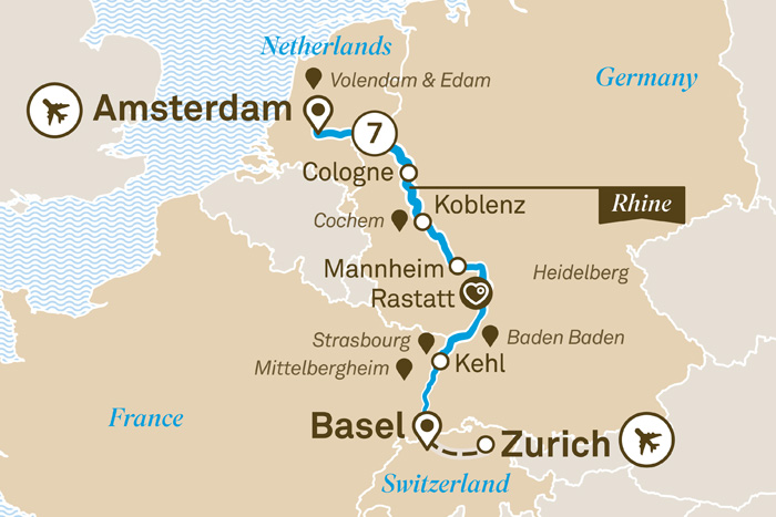 Scenic Rhine Highlights Cruise Itinerary Map