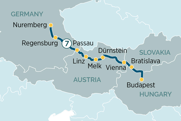 Emerald Waterways Danube Delights Cruise Itinerary Map