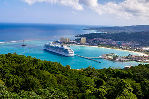 Ship docked in harbor, Jamaica