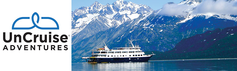 UnCruise Alaska small ship with mountains