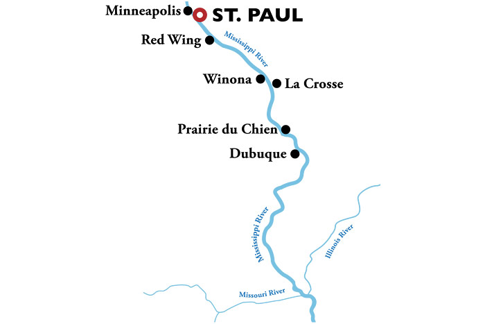 American Duchess Roundtrip St. Paul Itinerary Map