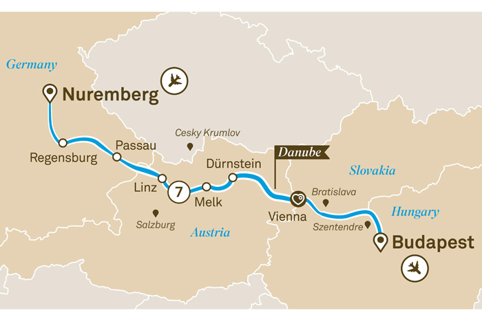 Scenic Gems of the Danube Cruise Itinerary Map