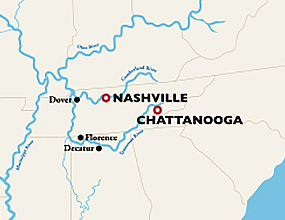 Nashville to Chattanooga Cruise Map