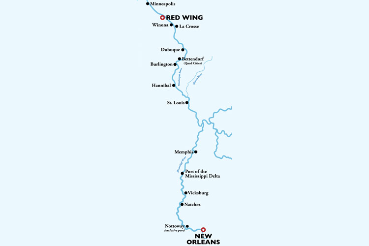 Mighty Mississippi 16 Day Cruise Itinerary Map