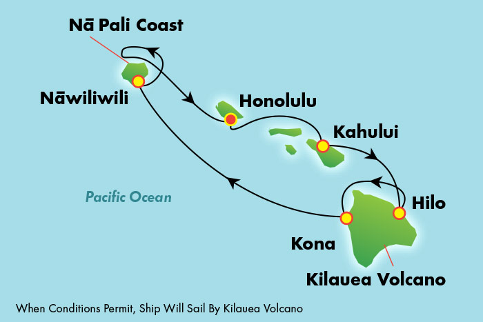 NCL Hawaii Cruise Map