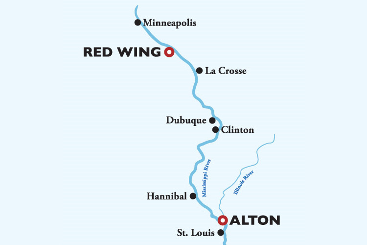 American Countess St. Louis to Minneapolis Itinerary Map