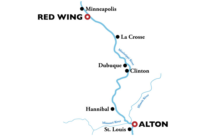 Alton to Redwing Itinerary Map
