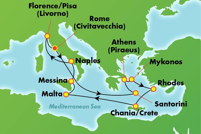 Gerek Islaes & Italy from Rome: Cruise Map