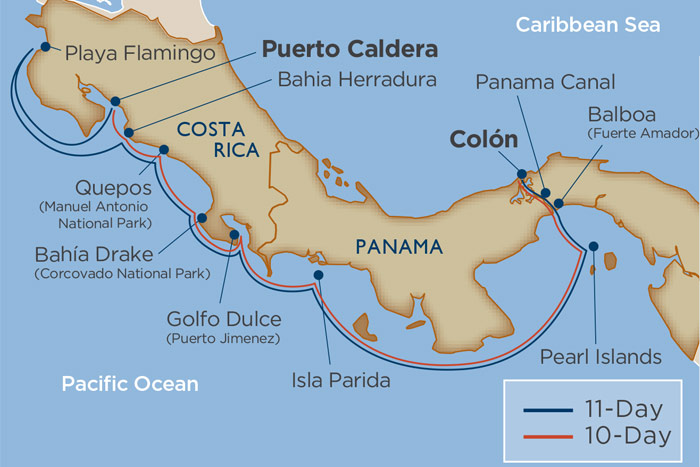 Adventures in Panama & Costa Rica Cruise Itinerary Map
