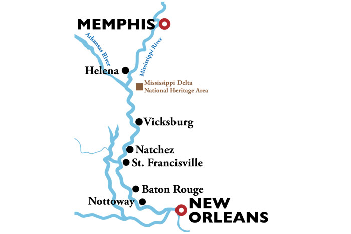 American Duchess Memphis to New Orleans Itinerary Map