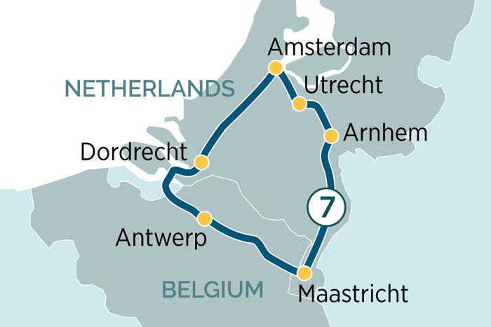 Emerald Waterways Charms of Holland & Belgium Cruise Itinerary Map