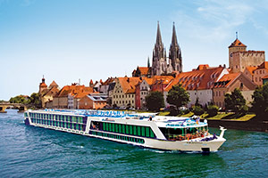 Boat on scenic River Cruise, Europe