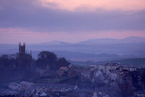 Downpatrick and the cathedral in County Down