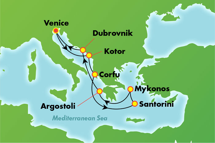 Greek Isles from Venice - Cruise Map